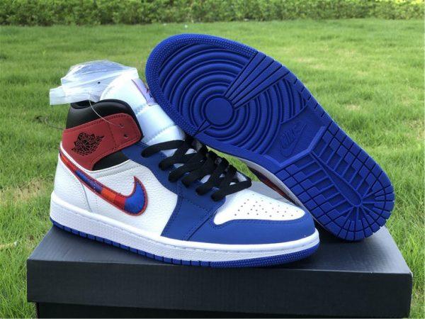 Air Jordan 1 Mid Blue Red shoes 2020