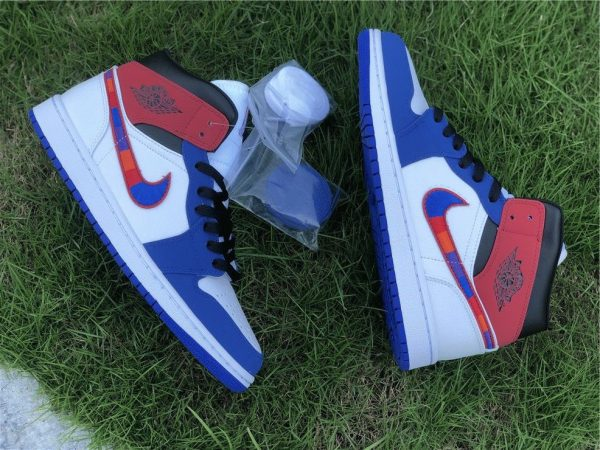 Air Jordan 1 Mid Embroidered Swooshes shoelace