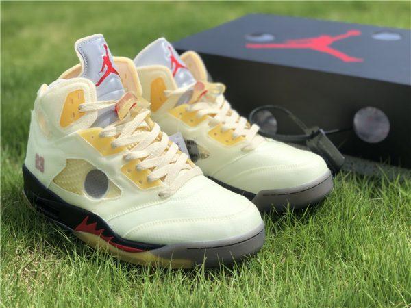 Off-White x Air Jordan 5 Sail shoes