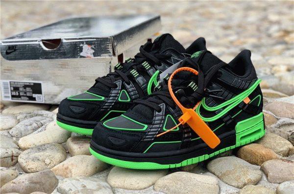 Nike Air Rubber Dunk Off-White Green Strike close look