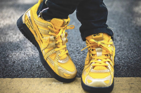 Off-White Air Rubber Dunk Gold On Feet
