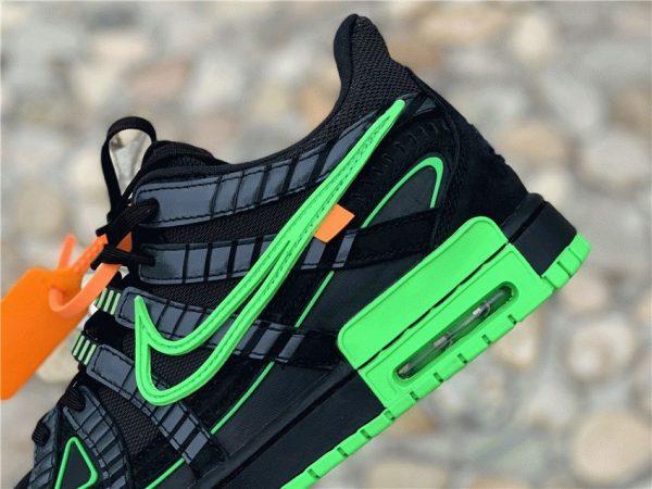 Off-White x Air Rubber Dunk Green Strike Nike panel swoosh