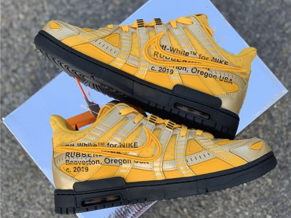 Off-White x Nike Air Rubber Dunk University Gold with box