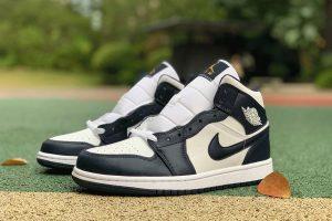 Air Jordan 1 Mid Obsidian shoes white