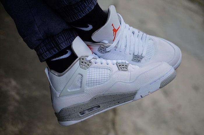 new Air Jordan 4 White Oreo on foot
