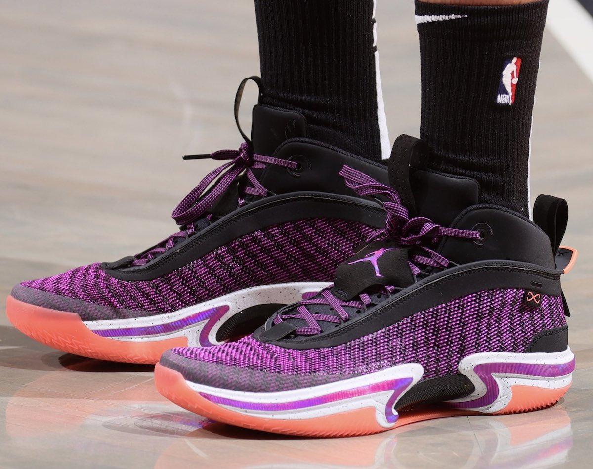 Air Jordan 36 purple on foot