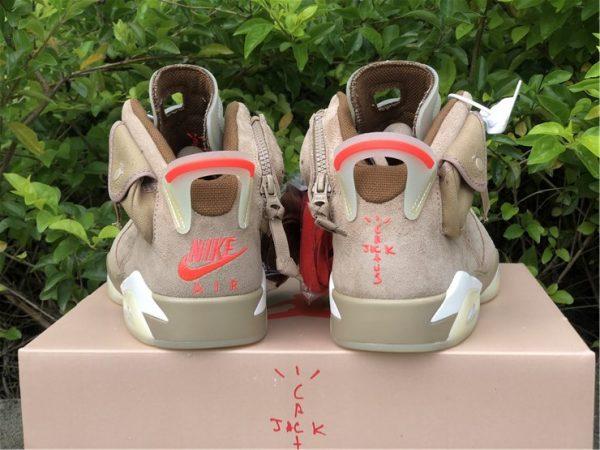 Travis Scott x Air Jordan 6 British Khaki heel