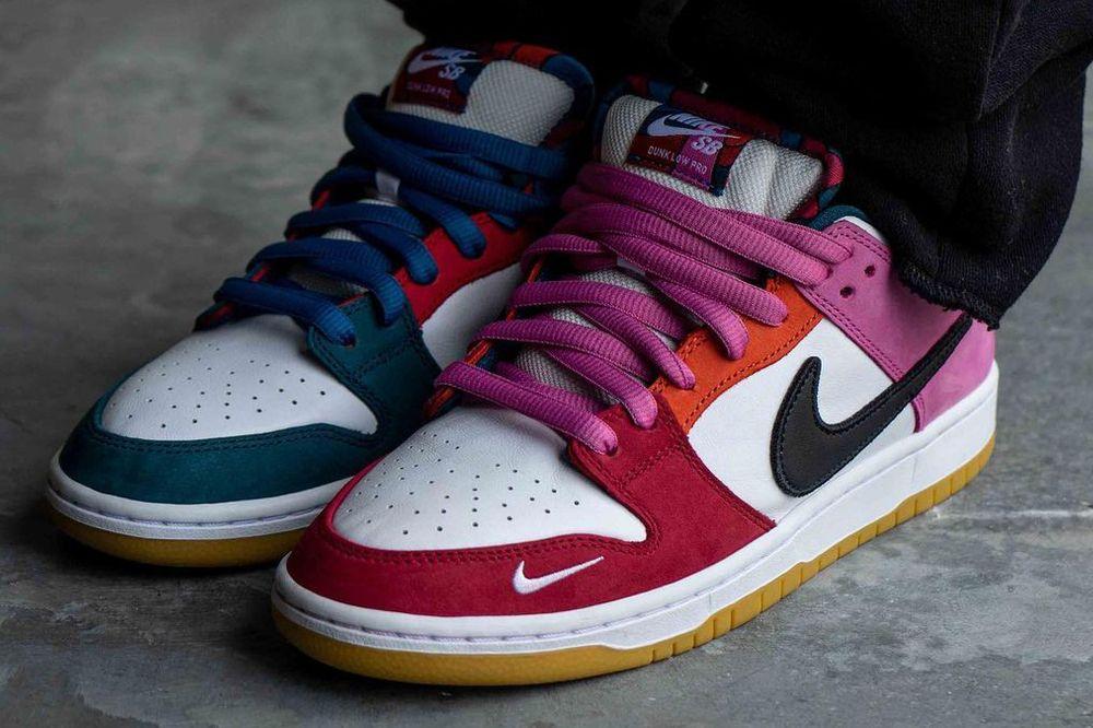 Asymmetrical Colorblocking Parra Nike SB Dunk Low red blue