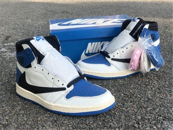 Travis Scott Fragment Jordan 1 Military Blue with shoelaces