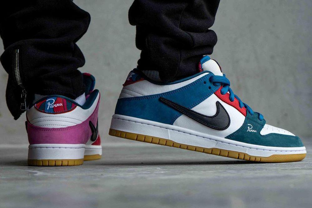 jordansupdate.com_Parra Nike SB Dunk Low on feet lateral side