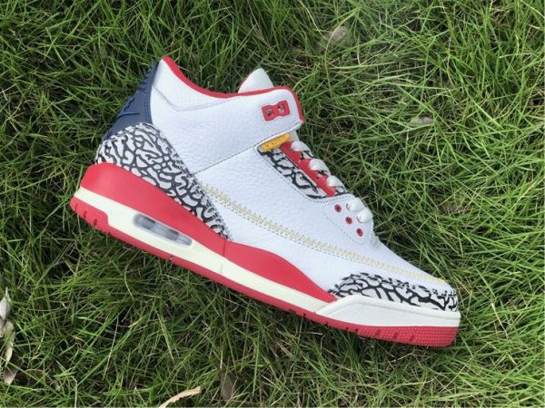 Air Jordan 3 Cement Navy Red White lateral side