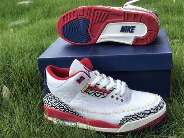 Air Jordan 3 Cement Navy Red White underfoot