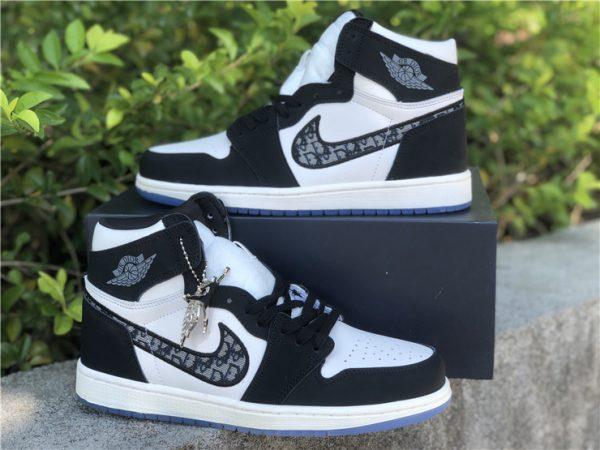 Dior x Air Jordan 1s Black White lateral side
