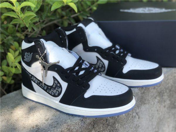 Dior x Air Jordan 1s Black White shoes