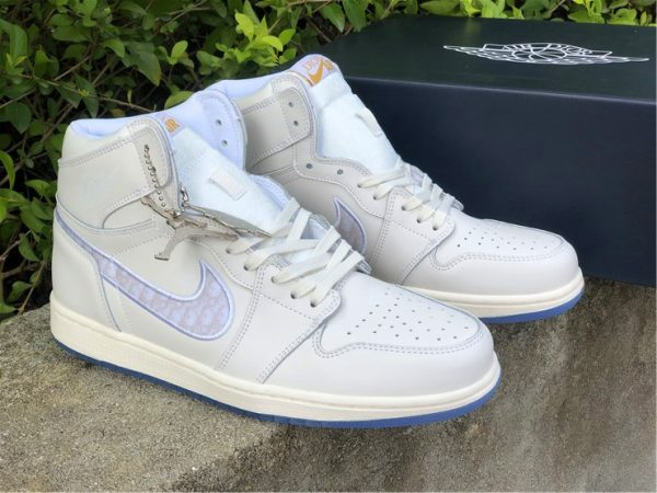 Dior x Air Jordan 1s White Grey for sale