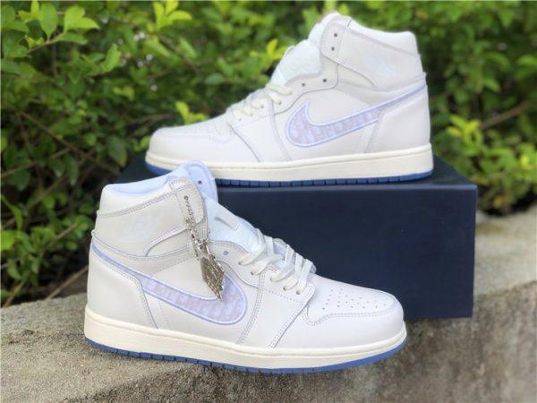 Dior x Air Jordan 1s White Grey shoes