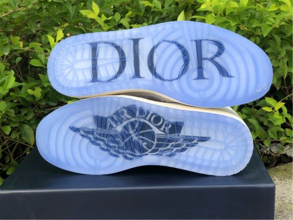 Dior x Air Jordan 1s White Grey underfoot