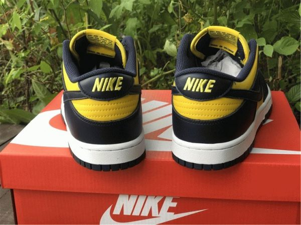 Nike Dunk Low Michigan Varsity Maize Navy back heel