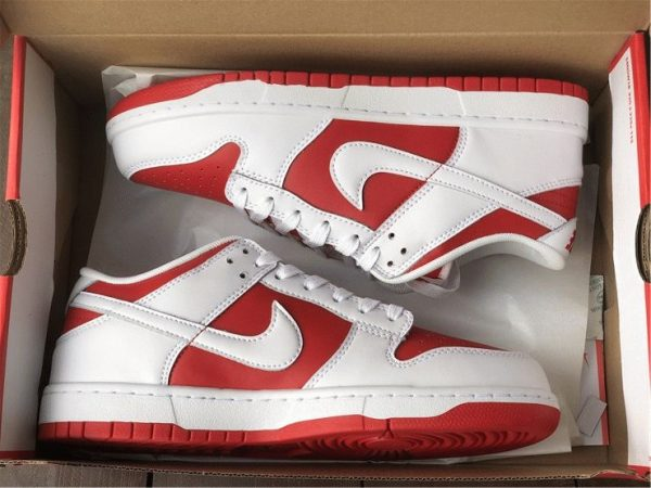 Nike Dunk Low White University Red in box look