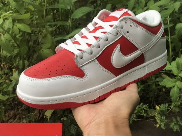 Nike Dunk Low White University Red on hand