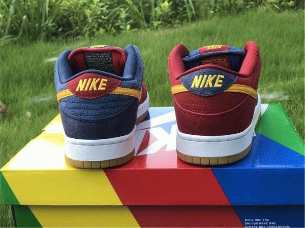 Nike SB Dunk Low Catalonia Maroon Navy Gold back heel