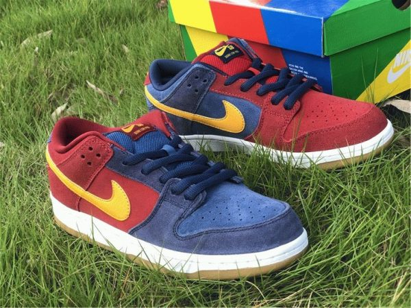 Nike SB Dunk Low Catalonia Maroon Navy Gold for sale