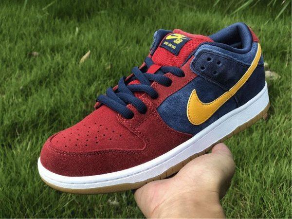Nike SB Dunk Low Catalonia Maroon Navy Gold on hand