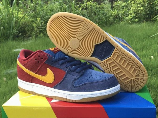 Nike SB Dunk Low Catalonia Maroon Navy Gold underfoot