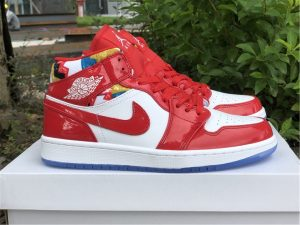 Air Jordan 1 Mid Red Patent Geometric Print