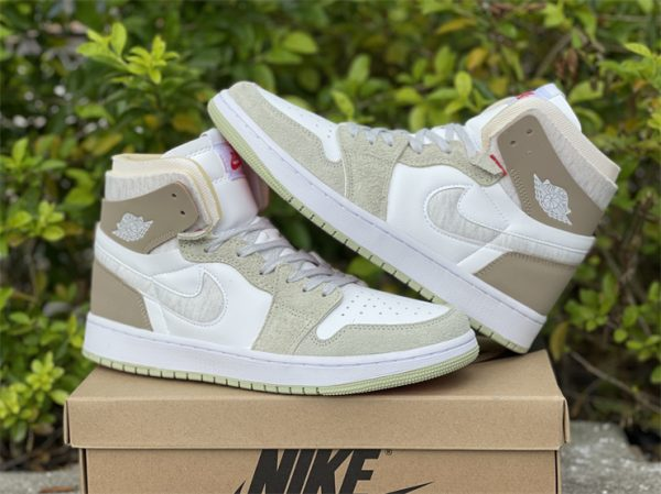 Jordan 1 High Zoom CMFT Olive Aura Khaki shoes