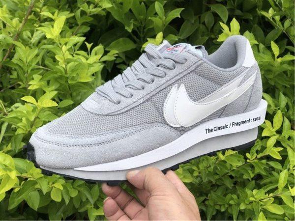 fragment x sacai x Nike LDWaffle Light Smoke Grey on hand