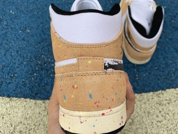 Jordan 1 Mid SE Brushstroke Paint Splatter back heel
